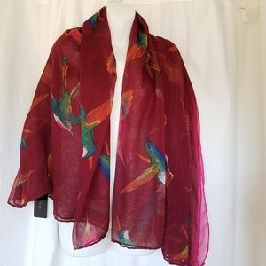 ZARA Large Light Bird Rainbow Wrap Scarf